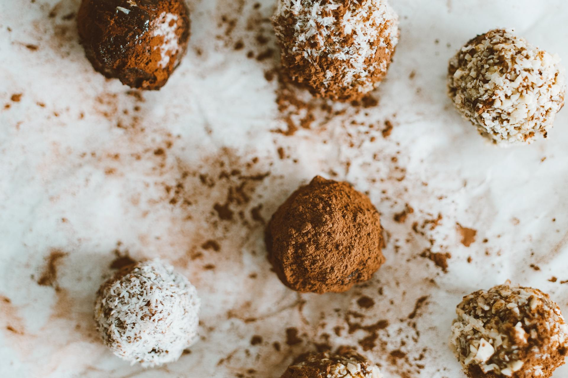 bonbons and truffles on a counter